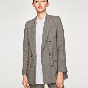 ZARA WOOL BLEND CHECKED DOUBLE BREASTED JACKET XS